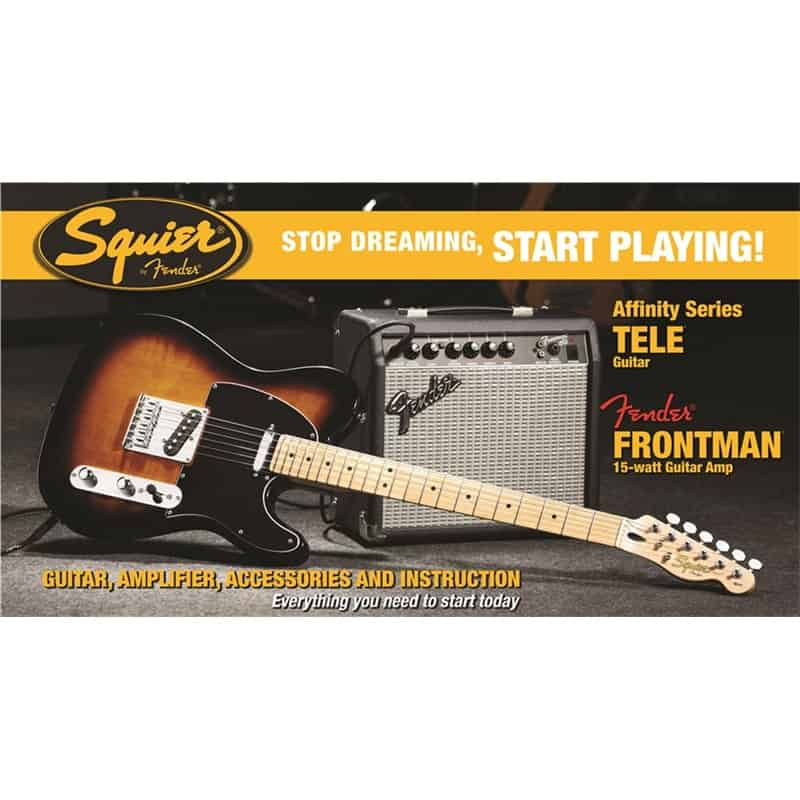 squier tele pack 15 watt amp brown sunburst