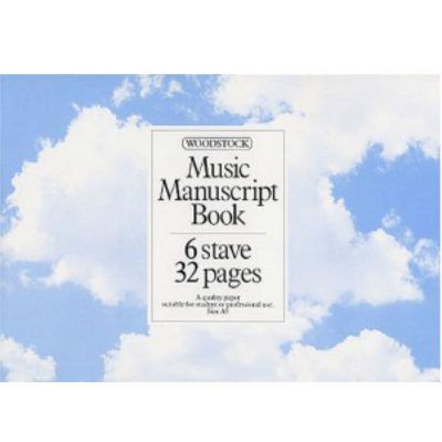 Woodstock Music Manuscript Paper: 6 Stave - 32 pages (A5L Stitched)