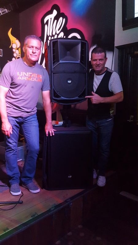 Rod O'Brien and Billy Mc Guinness using RCF speakers