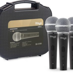 Stagg SDM503 Set of 3 professional cardioid dynamic microphones with cartridge DC78