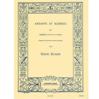 Busser Andante and Scherzo, Op. 44 (Trumpet and Piano)
