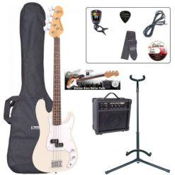 Encore E4 Bass Guitar Pack ~ White