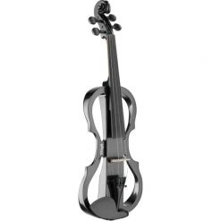 Stagg 4/4 electric violin set with metallic black electric violin, soft case and headphones