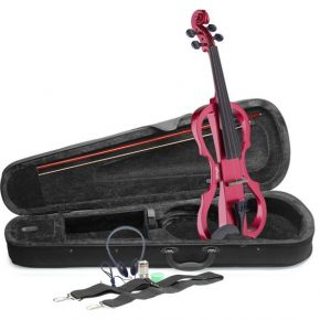 Stagg EVNX44MRD 4/4 Red electric violin, soft case and headphones